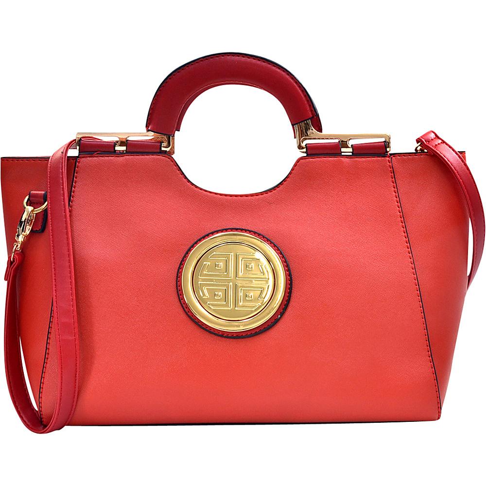 Dasein Loop Handle Satchel with Removable Shoulder Strap Orange - Dasein Manmade Handbags - Handbags, Manmade Handbags