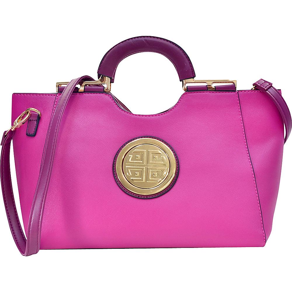Dasein Loop Handle Satchel with Removable Shoulder Strap Purple - Dasein Manmade Handbags - Handbags, Manmade Handbags