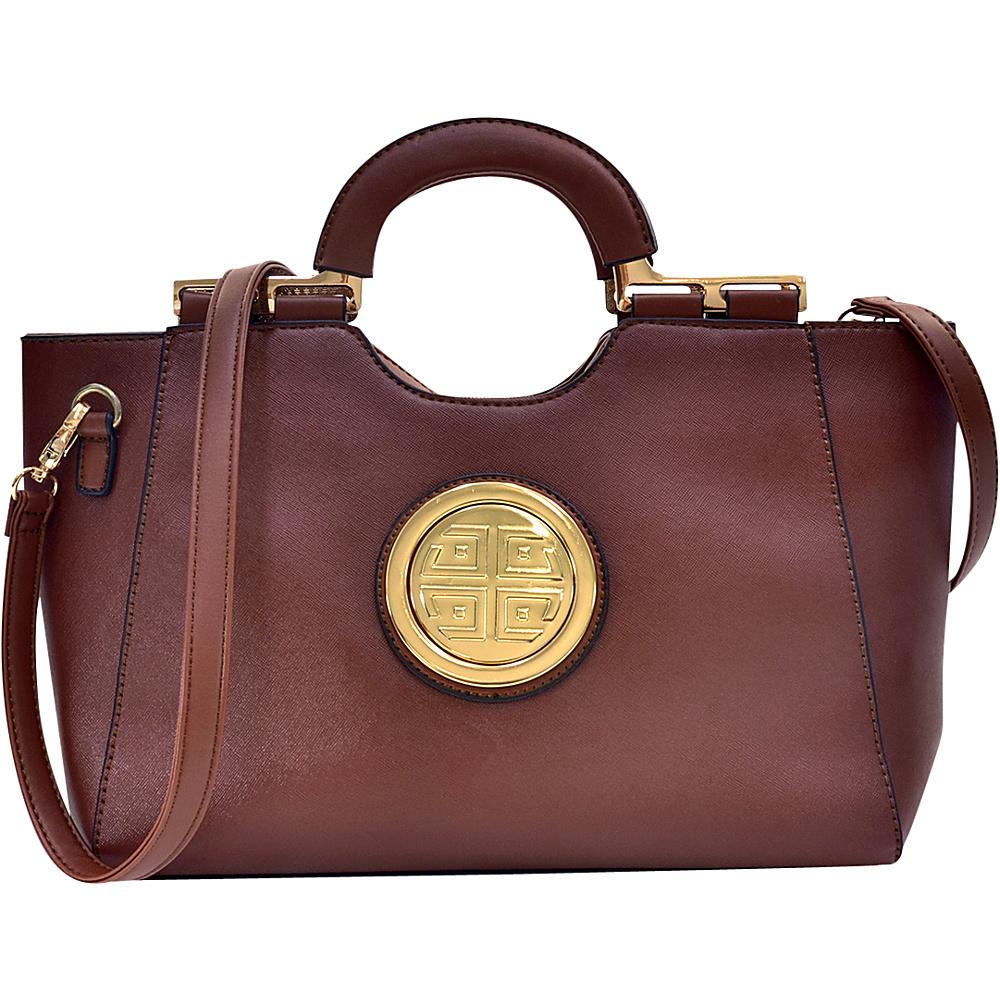 Dasein Loop Handle Satchel with Removable Shoulder Strap Brown - Dasein Manmade Handbags - Handbags, Manmade Handbags