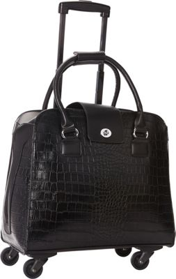 Hang Accessories Harlequin Crocodile Rolling Business Case Black - Hang Accessories Wheeled Business Cases
