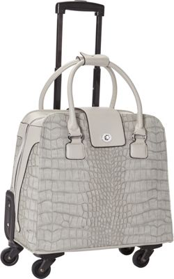 Hang Accessories Harlequin Crocodile Rolling Business Case Grey - Hang Accessories Wheeled Business Cases