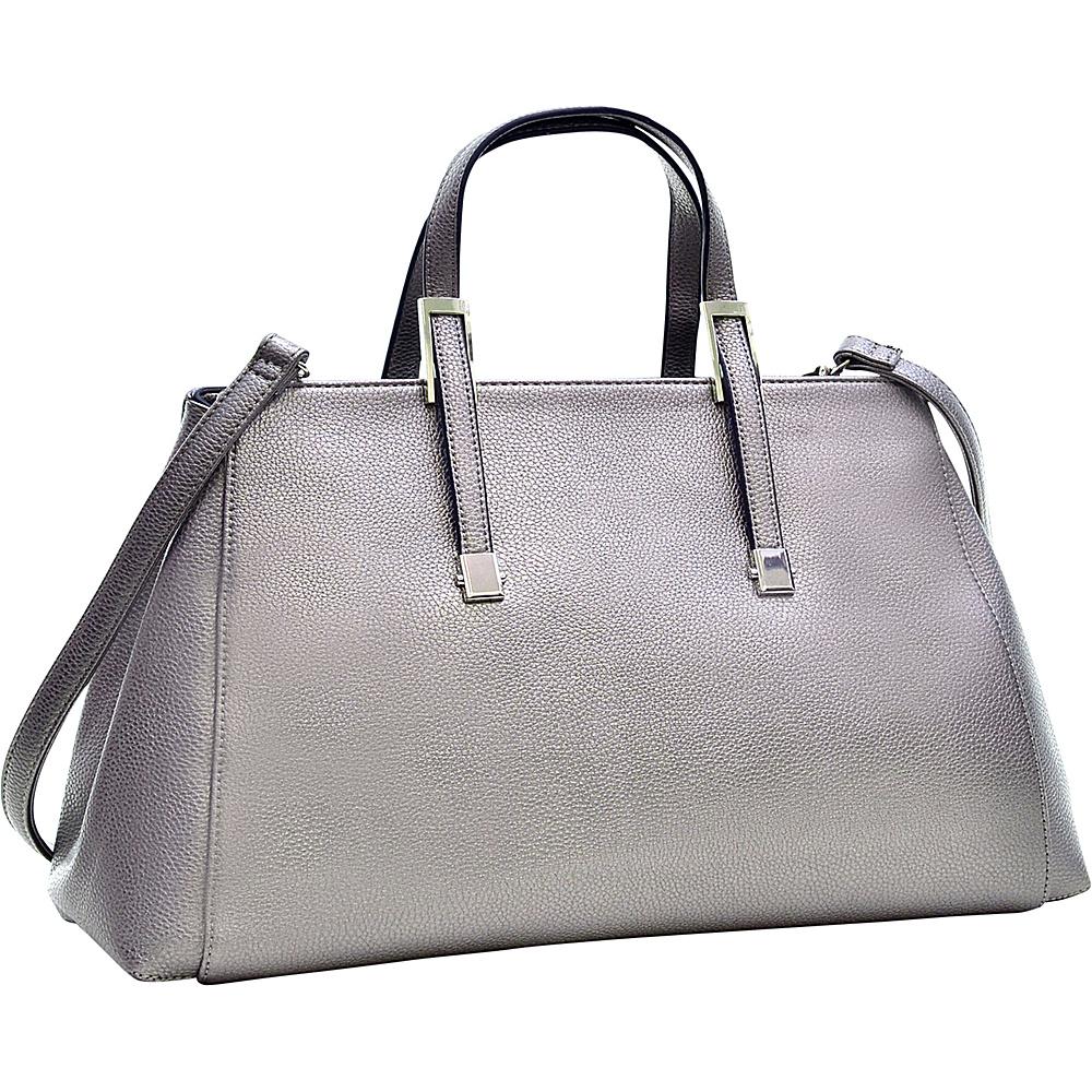 Dasein Faux Buffalo Small Classic Satchel Pewter - Dasein Manmade Handbags - Handbags, Manmade Handbags
