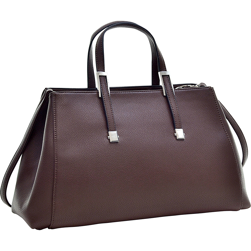 Dasein Faux Buffalo Small Classic Satchel Coffee - Dasein Manmade Handbags - Handbags, Manmade Handbags