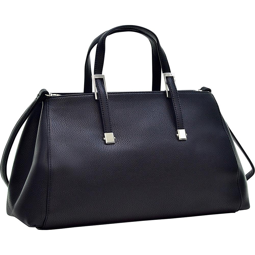 Dasein Faux Buffalo Small Classic Satchel Black - Dasein Manmade Handbags - Handbags, Manmade Handbags