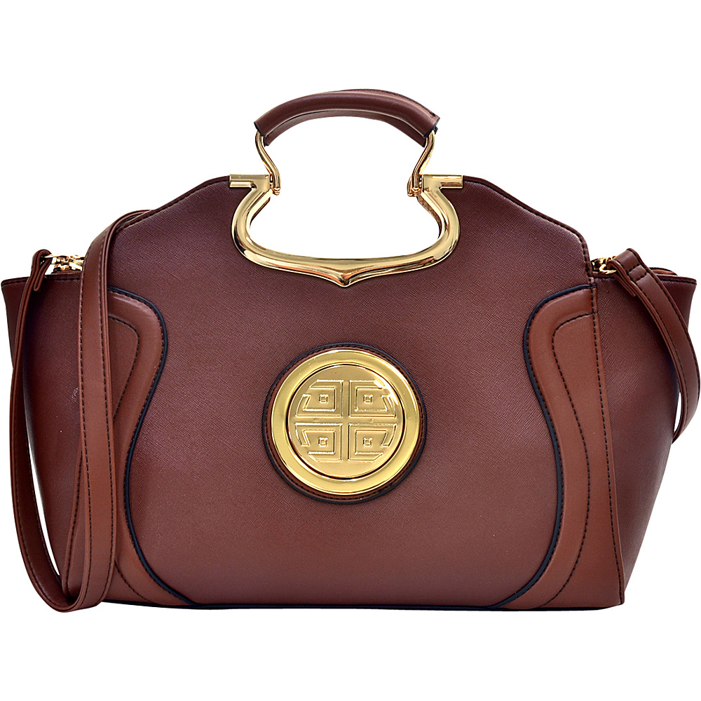 Dasein Drop Handle Raised Stitch Winged Handbag with Removable Shoulder Strap Brown - Dasein Gym Bags - Sports, Gym Bags