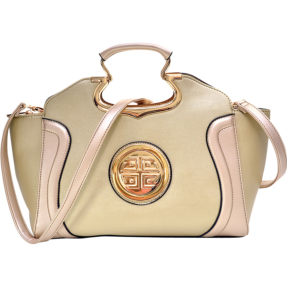 Dasein Drop Handle Raised Stitch Winged Handbag with Removable Shoulder Strap Gold - Dasein Gym Bags - Sports, Gym Bags