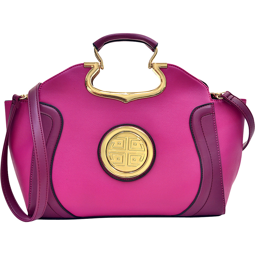 Dasein Drop Handle Raised Stitch Winged Handbag with Removable Shoulder Strap Purple - Dasein Gym Bags - Sports, Gym Bags