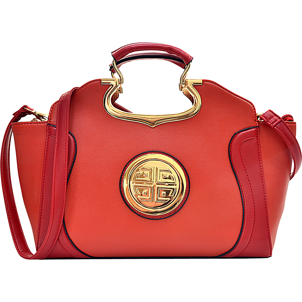 Dasein Drop Handle Raised Stitch Winged Handbag with Removable Shoulder Strap Orange - Dasein Gym Bags - Sports, Gym Bags