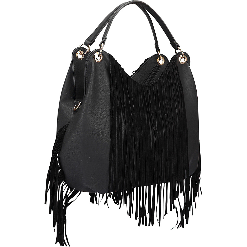 Dasein Fringe Studded Hobo Black - Dasein Manmade Handbags - Handbags, Manmade Handbags