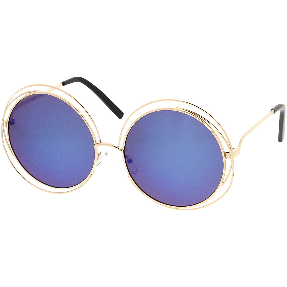 SW Global Womens Hipster Fashion Round Double Wire Flash Lens Sunglasses Blue - SW Global Eyewear - Fashion Accessories, Eyewear