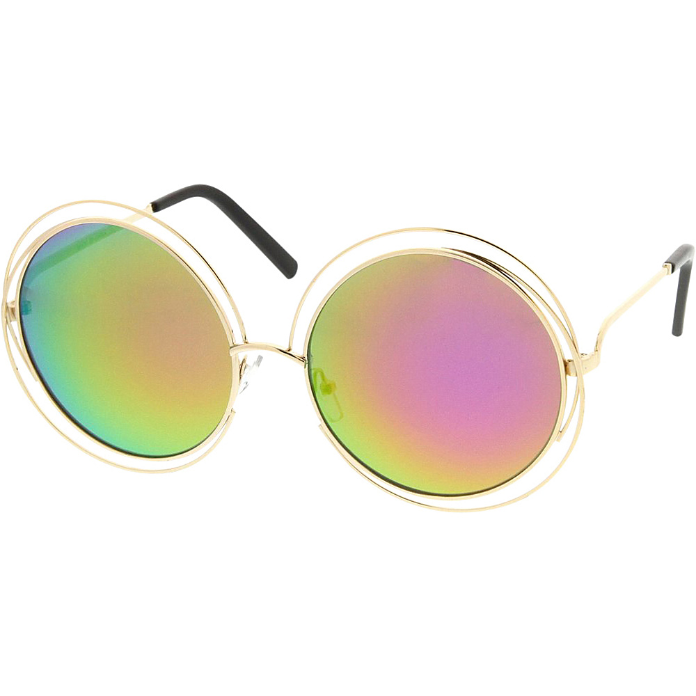 SW Global Womens Hipster Fashion Round Double Wire Flash Lens Sunglasses Rainbow - SW Global Eyewear - Fashion Accessories, Eyewear