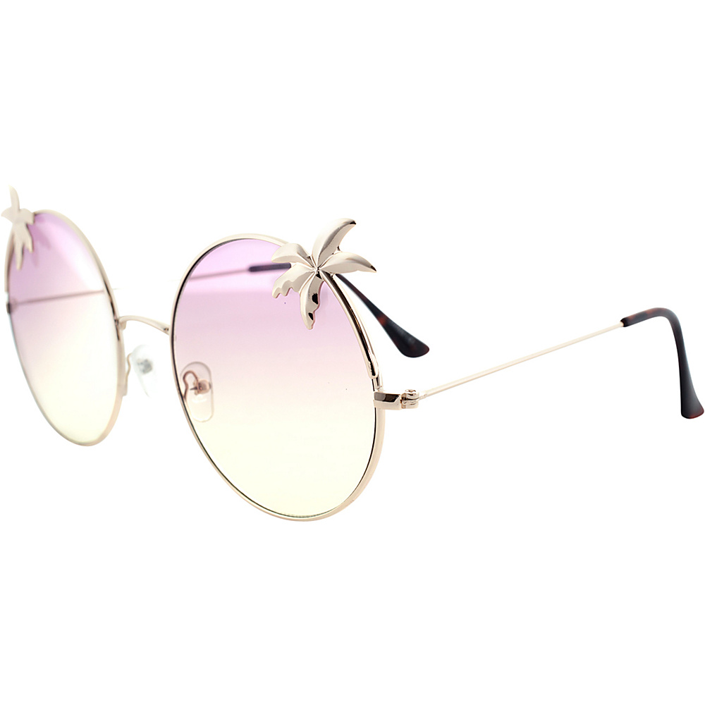 SW Global Womens Tropical Love Oversized Wired Round Frame Fashion UV400 Sunglasses Gold Grey - SW Global Eyewear - Fashion Accessories, Eyewear