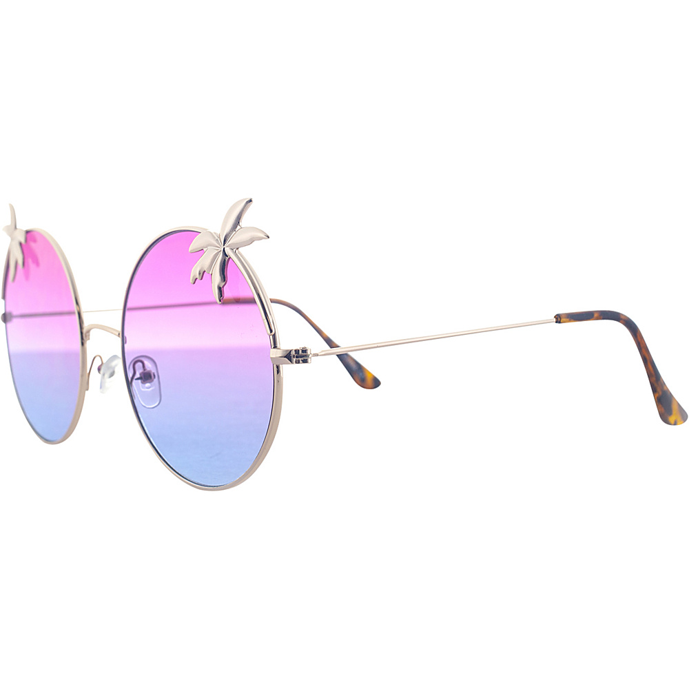 SW Global Womens Tropical Love Oversized Wired Round Frame Fashion UV400 Sunglasses Gold Purple - SW Global Eyewear - Fashion Accessories, Eyewear