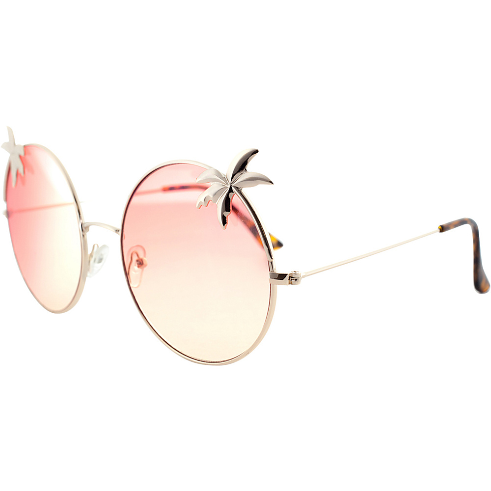 SW Global Womens Tropical Love Oversized Wired Round Frame Fashion UV400 Sunglasses Gold Red - SW Global Eyewear - Fashion Accessories, Eyewear