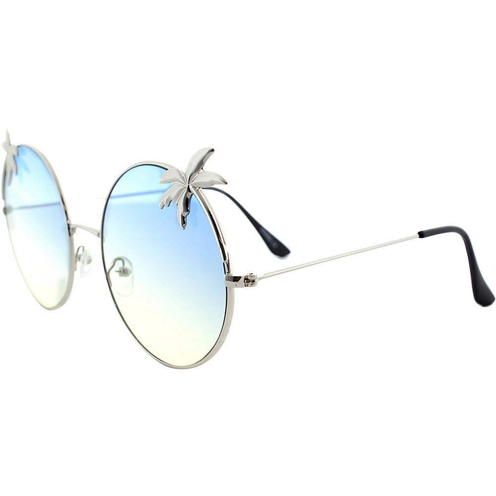 SW Global Womens Tropical Love Oversized Wired Round Frame Fashion UV400 Sunglasses Silver Blue - SW Global Eyewear - Fashion Accessories, Eyewear