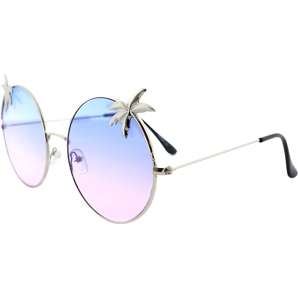SW Global Womens Tropical Love Oversized Wired Round Frame Fashion UV400 Sunglasses Silver Purple - SW Global Eyewear - Fashion Accessories, Eyewear