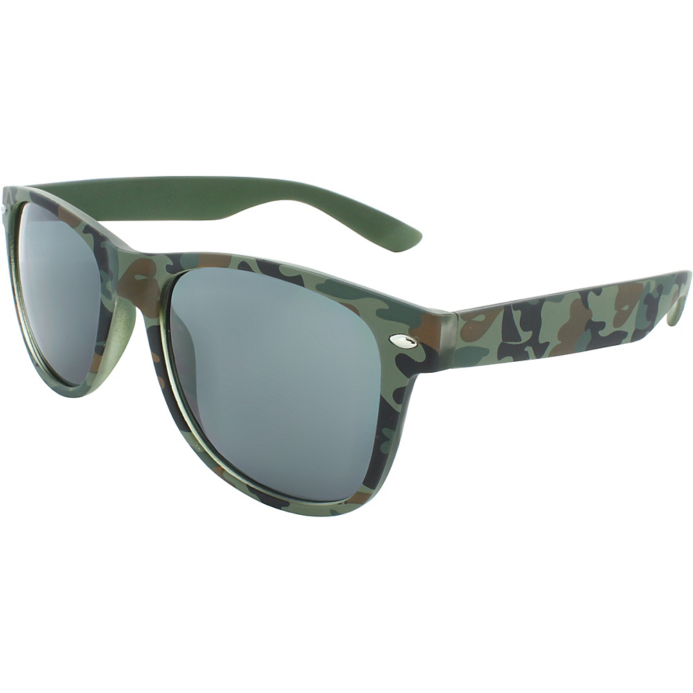 SW Global Camouflage 50mm Retro Square Sunglasses Green - SW Global Eyewear - Fashion Accessories, Eyewear