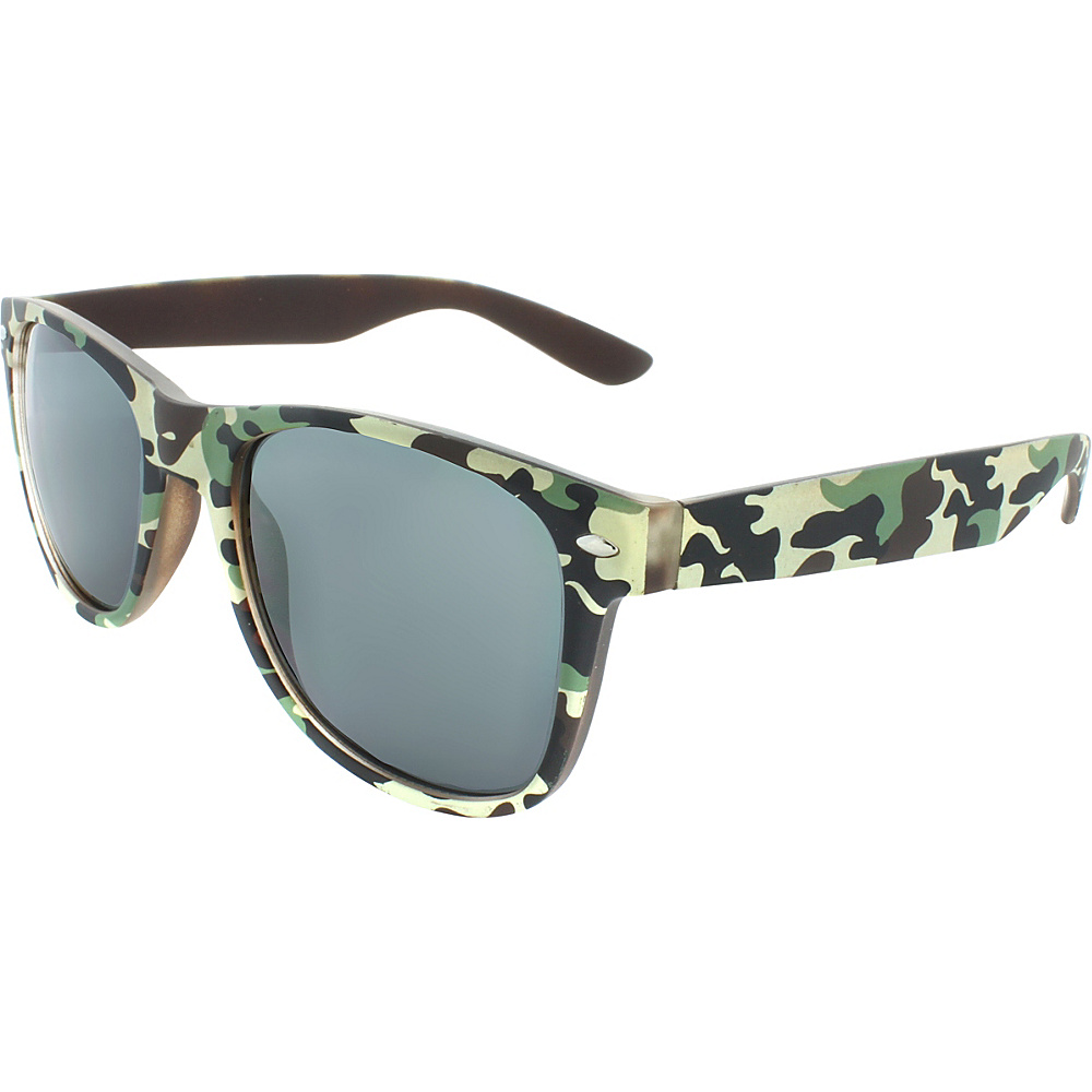SW Global Camouflage 50mm Retro Square Sunglasses Light-Green - SW Global Eyewear - Fashion Accessories, Eyewear