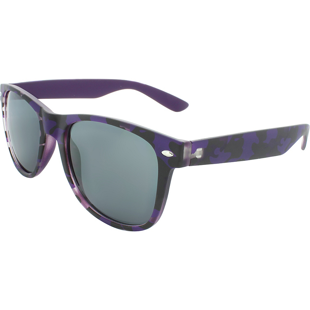 SW Global Camouflage 50mm Retro Square Sunglasses Purple - SW Global Eyewear - Fashion Accessories, Eyewear