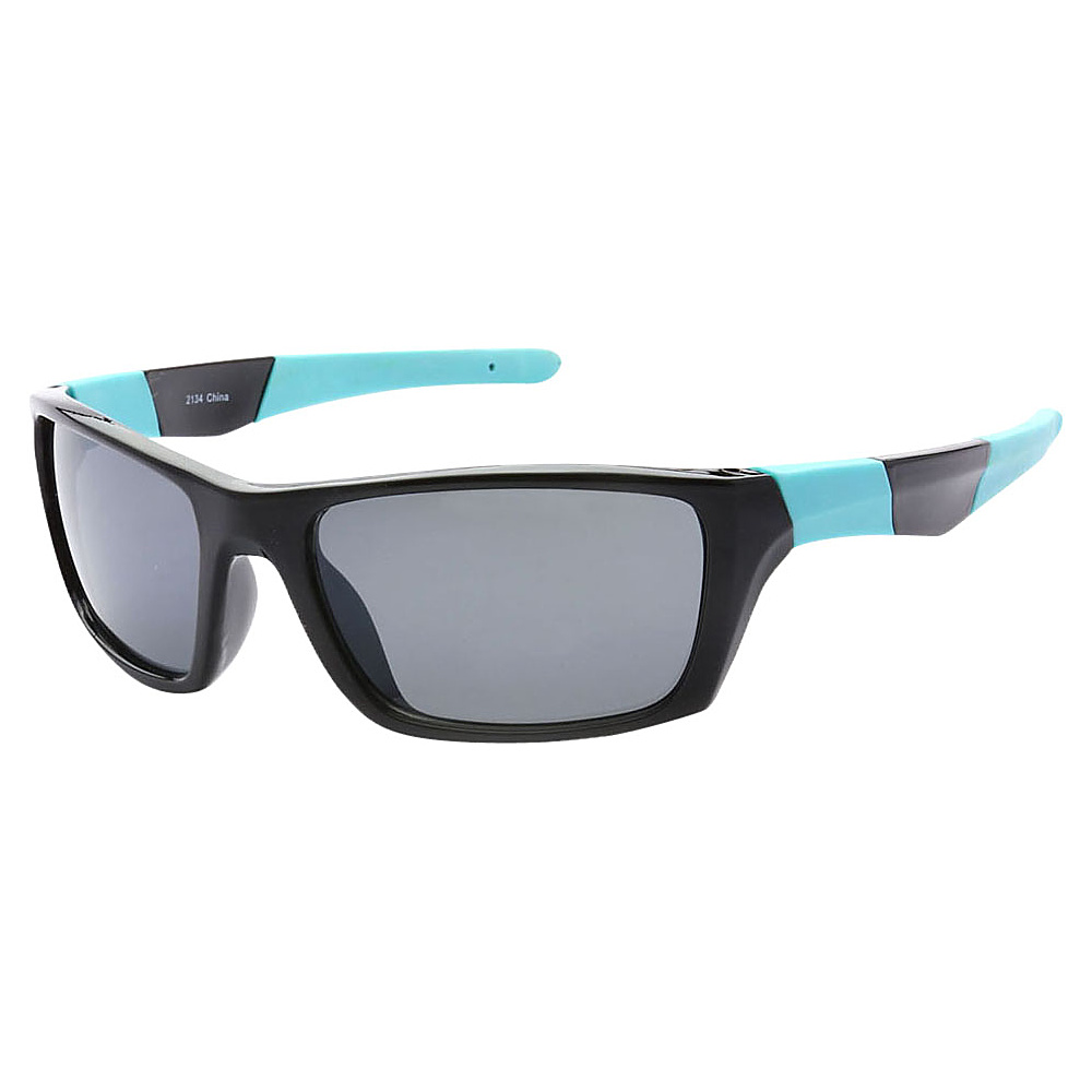 SW Global Outdoors Sports Full Square Framed UV400 Sunglasses Black Blue Black - SW Global Eyewear - Fashion Accessories, Eyewear