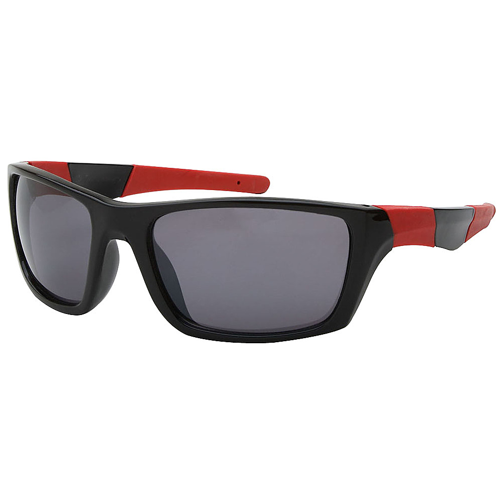 SW Global Outdoors Sports Full Square Framed UV400 Sunglasses Black Dark Red Black - SW Global Eyewear - Fashion Accessories, Eyewear