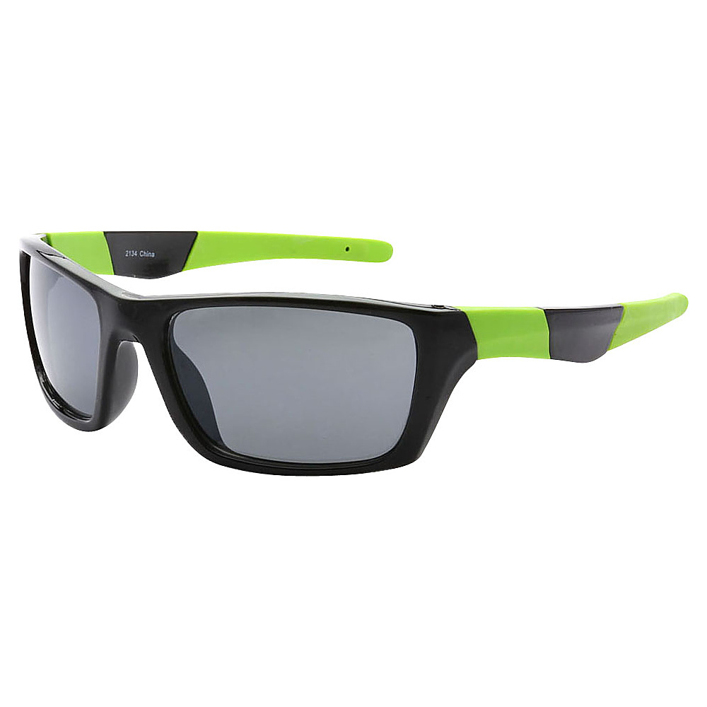 SW Global Outdoors Sports Full Square Framed UV400 Sunglasses Black Green Black - SW Global Eyewear - Fashion Accessories, Eyewear