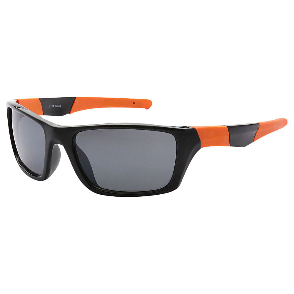 SW Global Outdoors Sports Full Square Framed UV400 Sunglasses Black Orange Black - SW Global Eyewear - Fashion Accessories, Eyewear