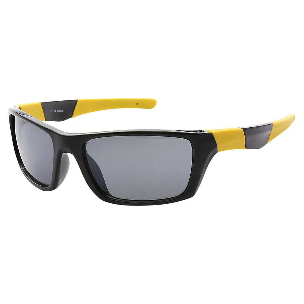 SW Global Outdoors Sports Full Square Framed UV400 Sunglasses Black Yellow Black - SW Global Eyewear - Fashion Accessories, Eyewear
