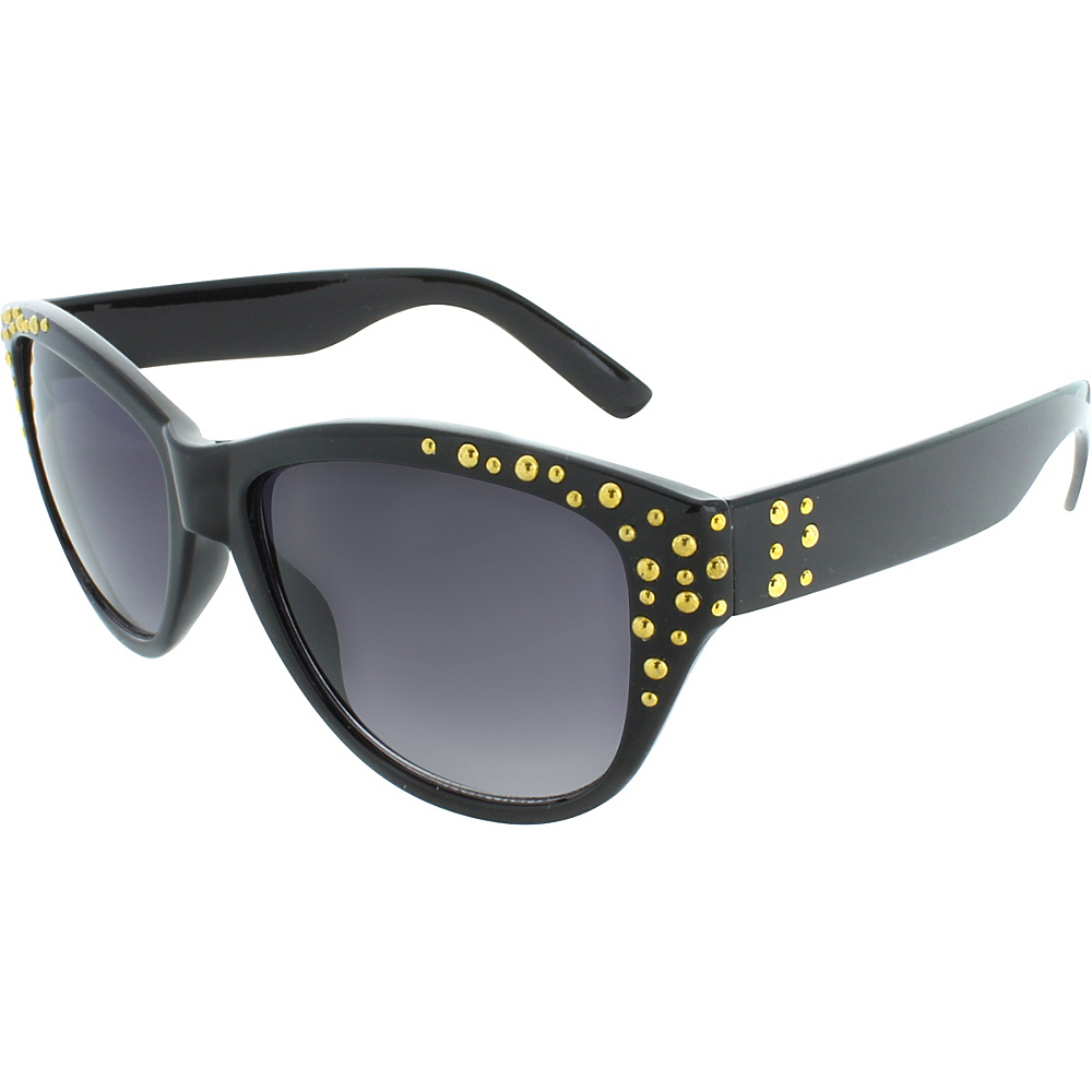 SW Global Studded Frame and Temple 53mm Cat Eye Sunglasses Black-Gold - SW Global Eyewear - Fashion Accessories, Eyewear