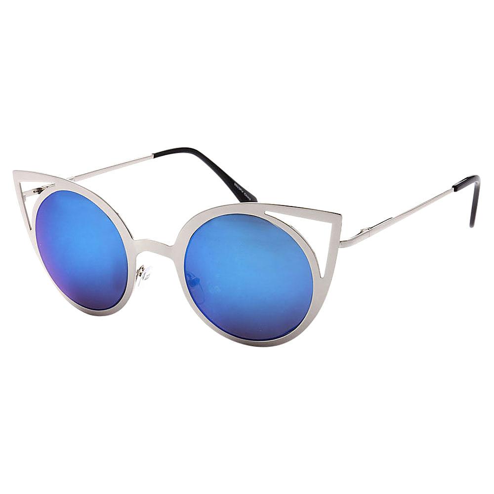 SW Global Womens Sexy Elegant Cateye UV400 Sunglasses Silver Blue - SW Global Eyewear - Fashion Accessories, Eyewear