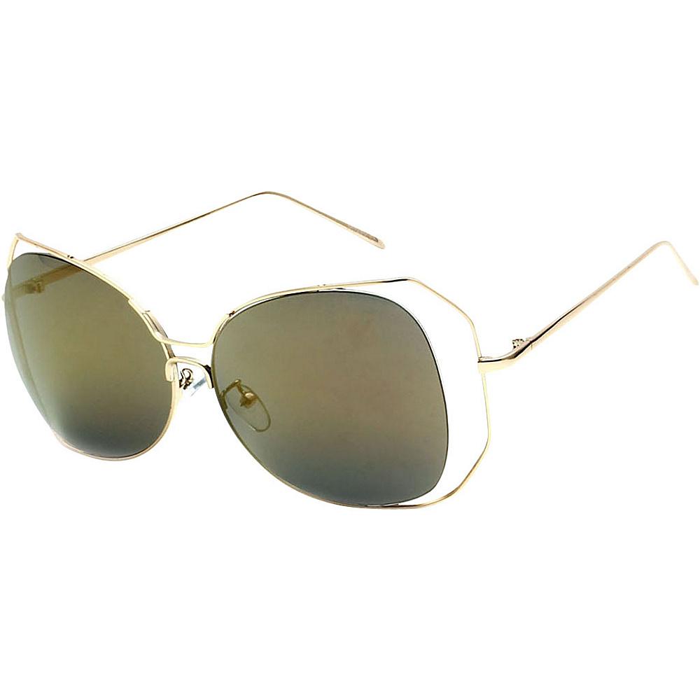 SW Global Womens Urban Trendy Double Frame Oversized Sunglasses Gold - SW Global Eyewear - Fashion Accessories, Eyewear