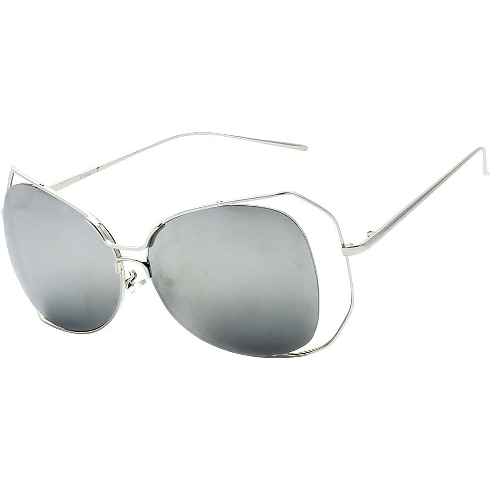 SW Global Womens Urban Trendy Double Frame Oversized Sunglasses Silver - SW Global Eyewear - Fashion Accessories, Eyewear