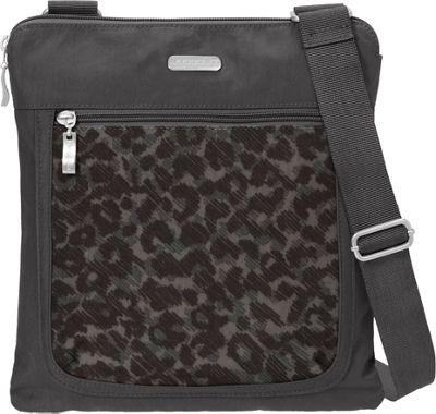 baggallini Pocket Slim Crossbody Charcoal Cheetah - baggallini Fabric Handbags