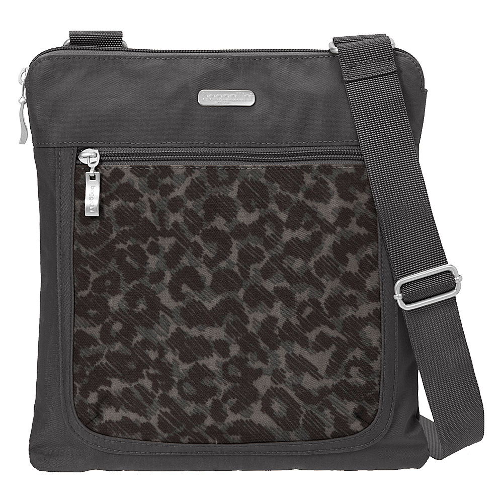 baggallini Pocket Slim Crossbody Charcoal Cheetah - baggallini Fabric Handbags - Handbags, Fabric Handbags