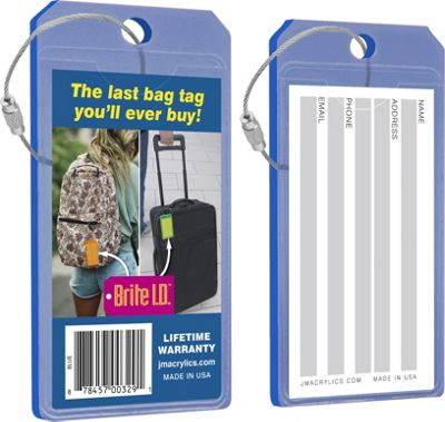 Brite I.D. Luggage/Bag Tags - 2 Pack Blue - Brite I.D. Luggage Accessories