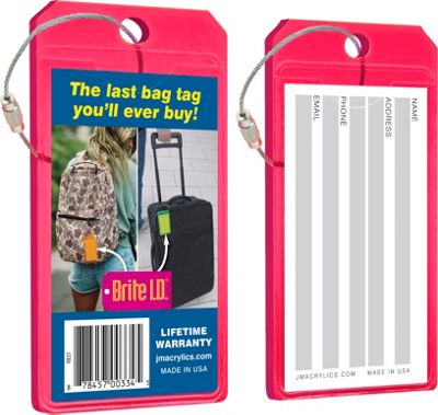Brite I.D. Luggage/Bag Tags - 2 Pack Red - Brite I.D. Luggage Accessories