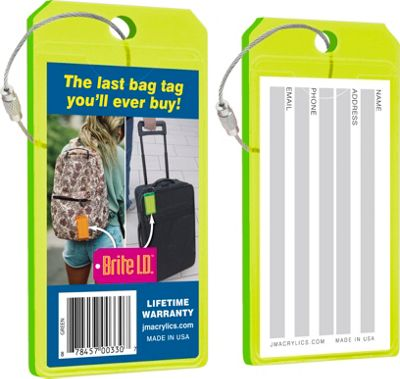 Brite I.D. Luggage/Bag Tags - 2 Pack Green - Brite I.D. Luggage Accessories
