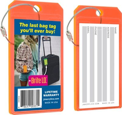 Brite I.D. Luggage/Bag Tags - 2 Pack Orange - Brite I.D. Luggage Accessories