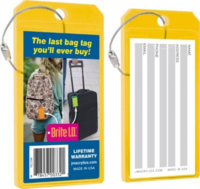 Brite I.D. Luggage/Bag Tags - 2 Pack Yellow - Brite I.D. Luggage Accessories