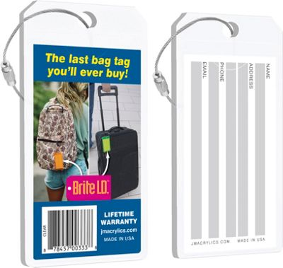 Brite I.D. Luggage/Bag Tags - 2 Pack Clear - Brite I.D. Luggage Accessories