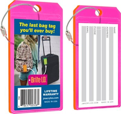Brite I.D. Luggage/Bag Tags - 2 Pack Pink - Brite I.D. Luggage Accessories