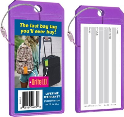 Brite I.D. Luggage/Bag Tags - 2 Pack Purple - Brite I.D. Luggage Accessories