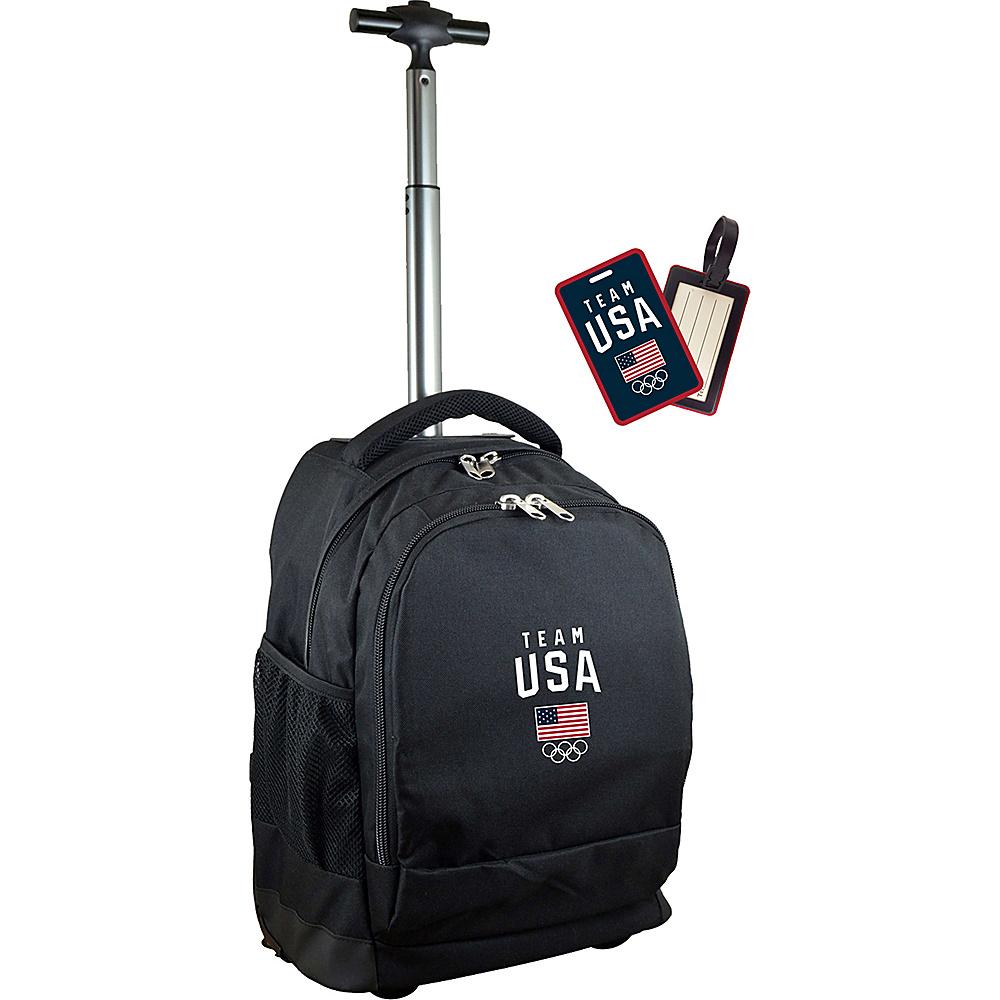 MOJO Denco Team USA Olympics Wheeled Laptop Backpack Black - MOJO Denco Wheeled Backpacks - Backpacks, Wheeled Backpacks