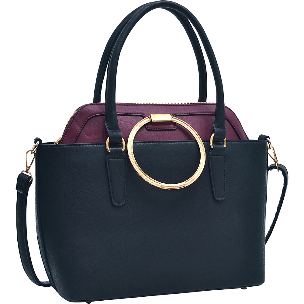 Dasein 2 in 1 Satchel and Tote Black/Wine - Dasein Manmade Handbags - Handbags, Manmade Handbags