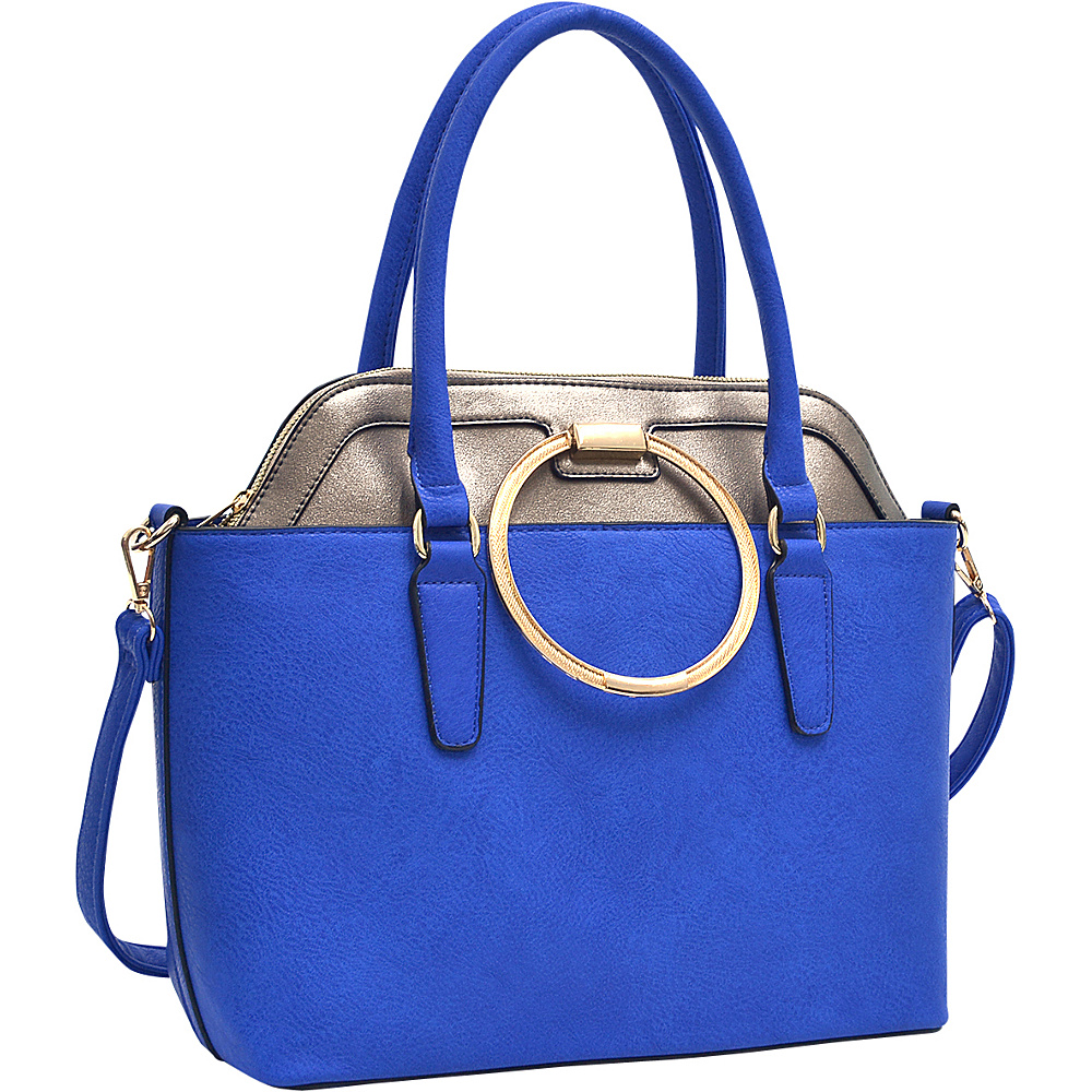 Dasein 2 in 1 Satchel and Tote Royal Blue/Pewter - Dasein Manmade Handbags - Handbags, Manmade Handbags