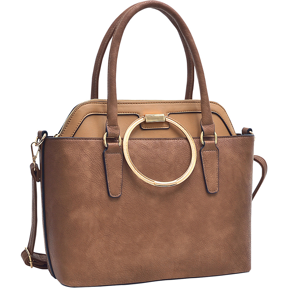 Dasein 2 in 1 Satchel and Tote Brown/Tan - Dasein Manmade Handbags - Handbags, Manmade Handbags