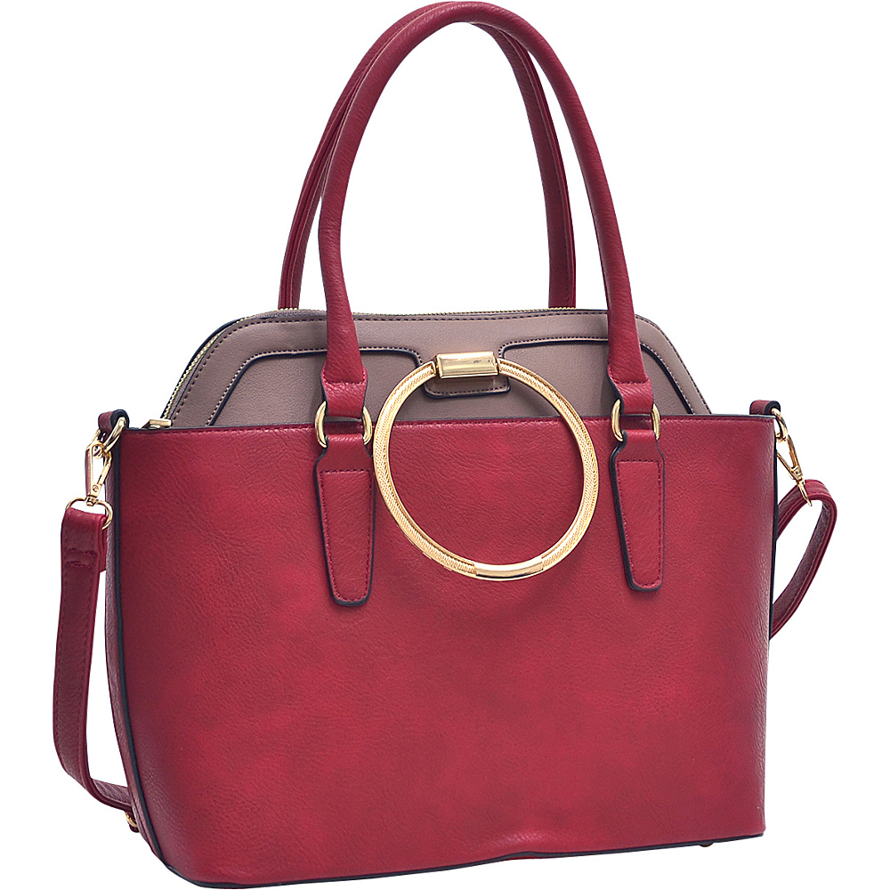 Dasein 2 in 1 Satchel and Tote Red/Taupe - Dasein Manmade Handbags - Handbags, Manmade Handbags
