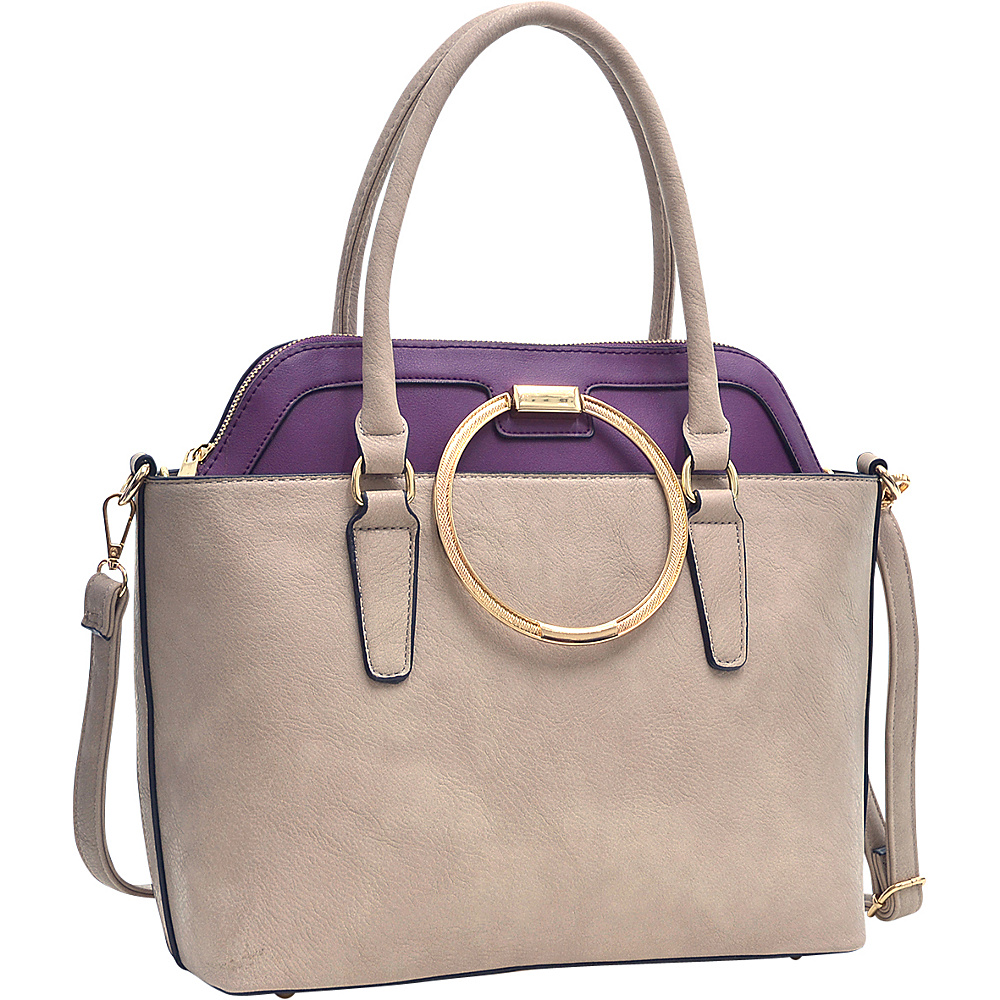 Dasein 2 in 1 Satchel and Tote Stone/Purple - Dasein Manmade Handbags - Handbags, Manmade Handbags