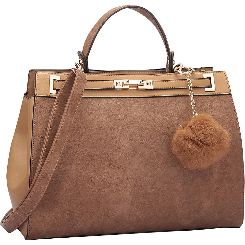 Dasein Padlock and Decorative Pompom Satchel Brown/Tan - Dasein Manmade Handbags - Handbags, Manmade Handbags