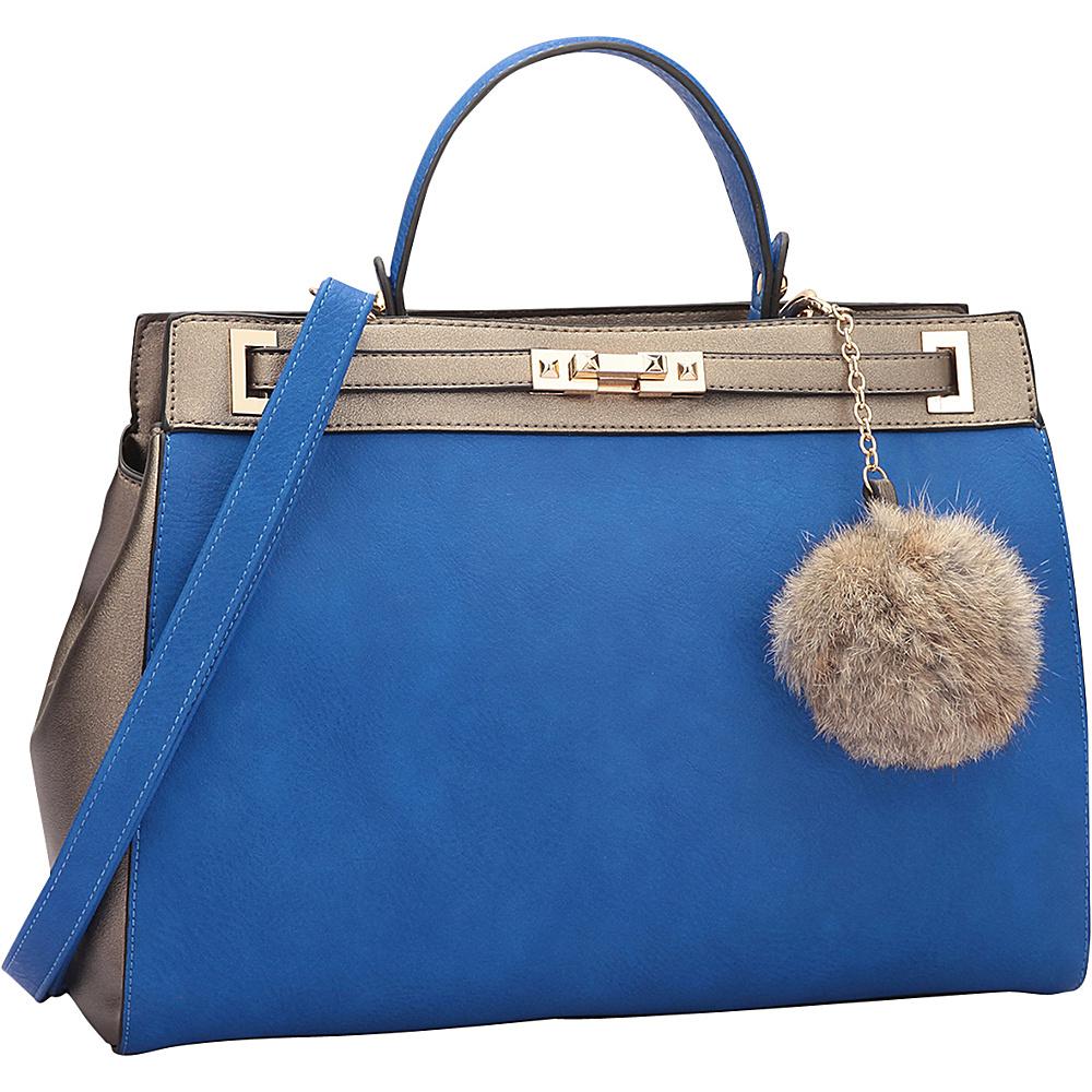 Dasein Padlock and Decorative Pompom Satchel Royal Blue/Pewter - Dasein Manmade Handbags - Handbags, Manmade Handbags